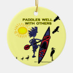 Kayak Paddles Well With Others II Round Ceramic Decoration