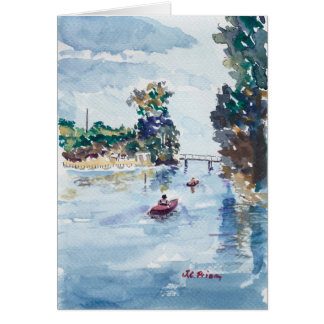 Kayakers on Weeki Wachie Watercolor Painting Card