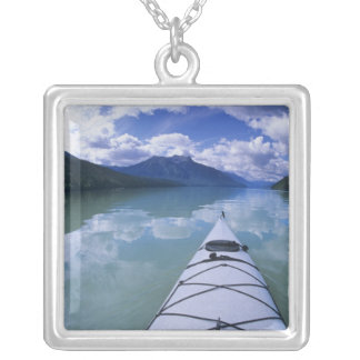 Kayaking at the end end of Azure Lake in Wells Square Pendant Necklace