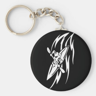 Kayaking Extreme Sport Graphic in Black & White Basic Round Button Key Ring