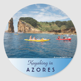 Kayaking in Azores Classic Round Sticker