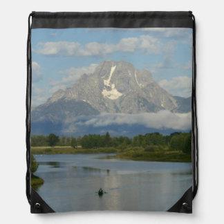 Kayaking in Grand Teton National Park Drawstring Bag