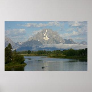 Kayaking in Grand Teton National Park Poster