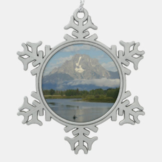 Kayaking in Grand Teton National Park Snowflake Pewter Christmas Ornament