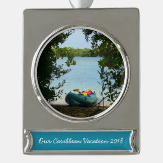 Kayaking in St. Thomas US Virgin Islands Silver Plated Banner Ornament