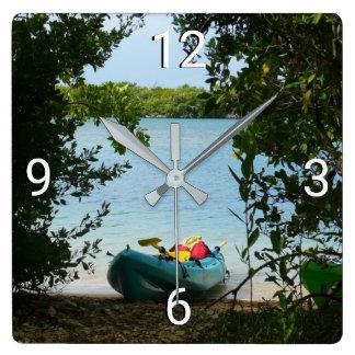 Kayaking in St. Thomas US Virgin Islands Square Wall Clock