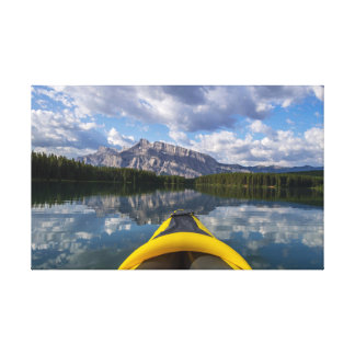 Kayaking on sunrise at Two Jack lake Canvas Print