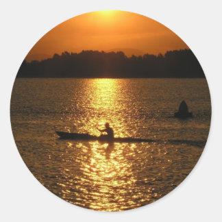 Kayaking Sunset Stickers