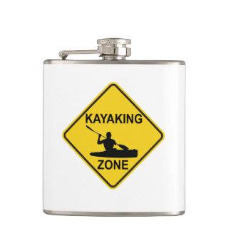 Kayaking Zone Road Sign Hip Flask