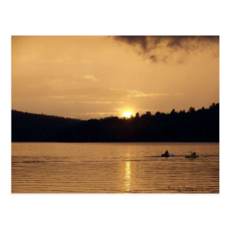 Kayaks on Lake at Sunset Postcard