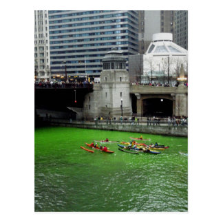 Kayaks on the green Chicago River Postcard