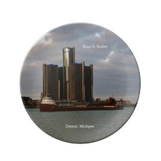 Kaye E. Barker Detroit decorative plate