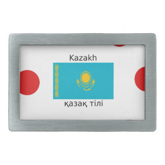 Kazakh Language And Kazakhstan Flag Design Rectangular Belt Buckle