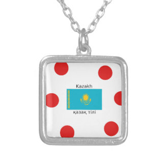 Kazakh Language And Kazakhstan Flag Design Silver Plated Necklace