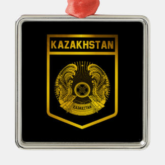 Kazakhstan Emblem Silver-Colored Square Decoration