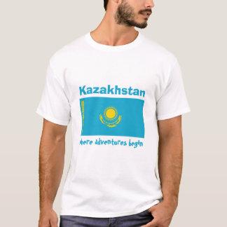 Kazakhstan Flag + Map + Text T-Shirt