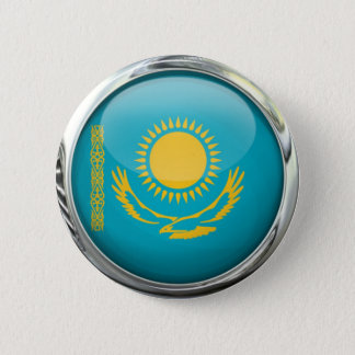 Kazakhstan Flag Round Glass Ball 6 Cm Round Badge