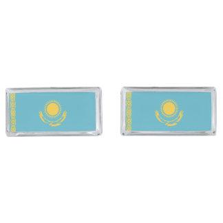 Kazakhstan Flag Silver Finish Cuff Links