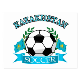 Kazakhstan soccer ball designs postcard
