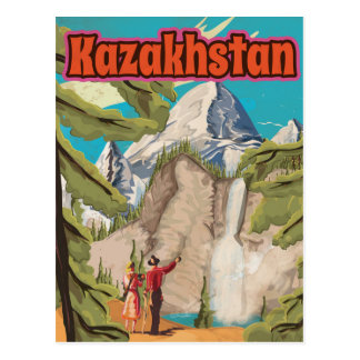 Kazakhstan Vintage Travel Poster Post Card