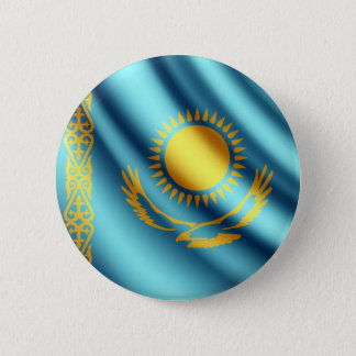 Kazakhstan waving flag pinback button