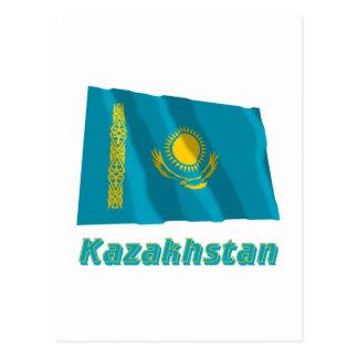 Kazakhstan Waving Flag with Name Postcard
