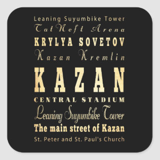 Kazan City of Russia Typography Art Square Sticker