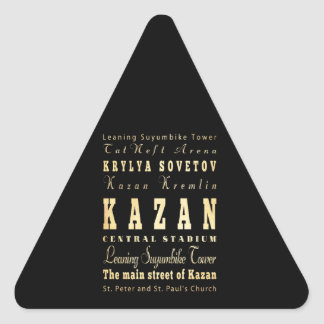 Kazan City of Russia Typography Art Triangle Sticker