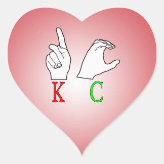 KC ASL FINGERSPELLED INITIALS HEART STICKER