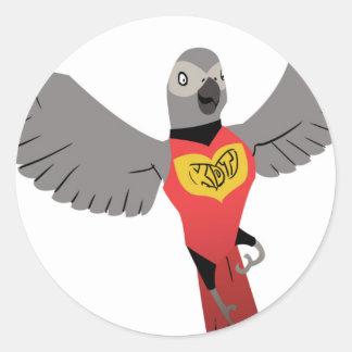 KDT Grey Super Hero Classic Round Sticker