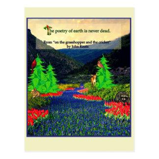 Keats quote nature scene postcard