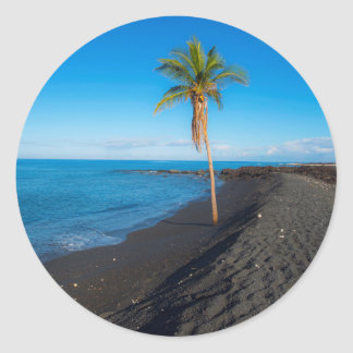 Keawaiki black sand beach classic round sticker