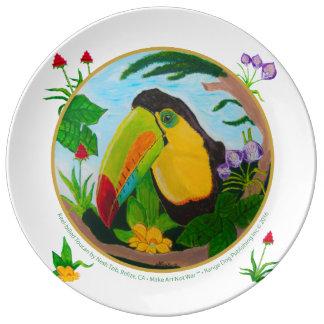 Keel-Billed Toucan Porcelain Plate