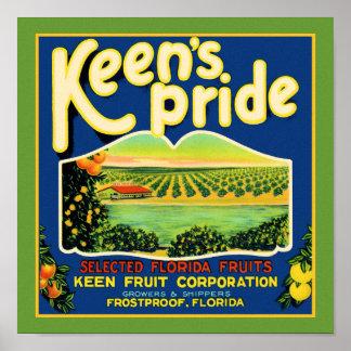 Keen's Pride  Frostproof Florida Label Poster
