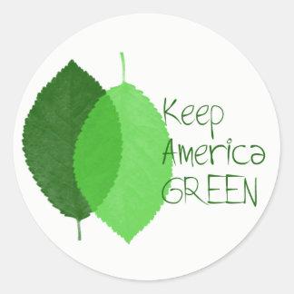 Keep America Green Round Sticker