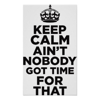 Keep Calm Ain't Nobody Got Time For That Poster