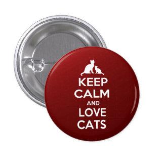 Keep calm an love cats 3 cm round badge