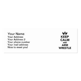 Keep calm and arm wrestle pack of skinny business cards