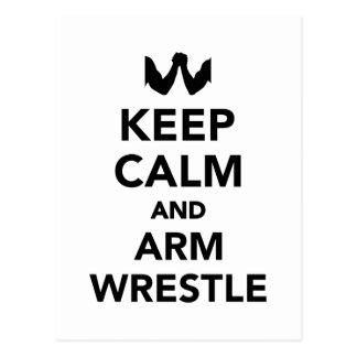 Keep calm and arm wrestle postcard