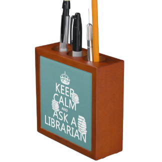 Keep Calm and Ask A Librarian (any color) Desk Organiser