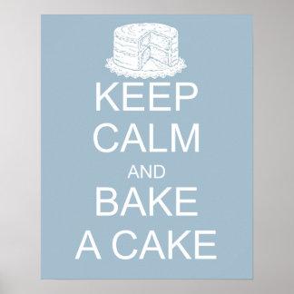 Keep calm and bake a cake on blue background print
