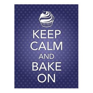 Keep Calm and Bake On Recipe Card Blue