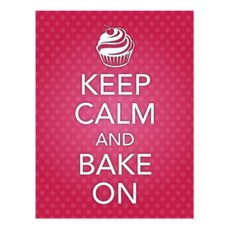 Keep Calm and Bake On Recipe Card Pink