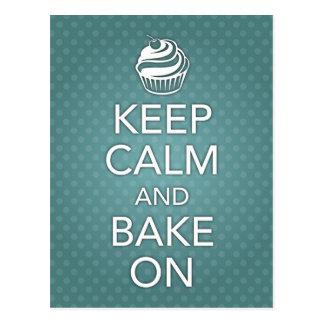 Keep Calm and Bake On Recipe Card Teal
