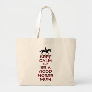Keep Calm and Be A Good Horse Mom Jumbo Tote Bag