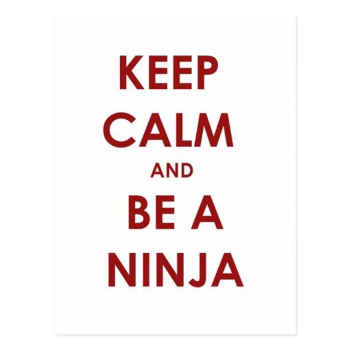 Keep Calm and Be A Ninja Post Card