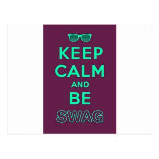 Keep Calm and Be Swag Sunglasses slogan Postcard