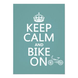 Keep Calm and Bike On (any color) 14 Cm X 19 Cm Invitation Card
