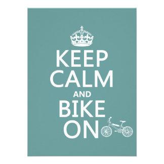 Keep Calm and Bike On any color Custom Invites