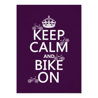 Keep Calm and Bike On (customizable color) 14 Cm X 19 Cm Invitation Card